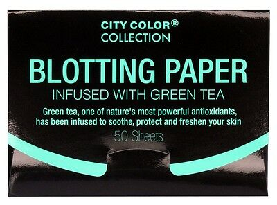 City Color Collection Blotting Paper Infused with Green Tea! 50 Sheets Brand New