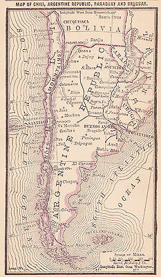 1887 Antique Map of Argentina, Chile, Paraguay and Uruguay