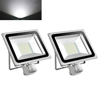 2X 100W LED PIR Motion Sensor Floodlight Outdoor Security Lamp IP65 Cool White