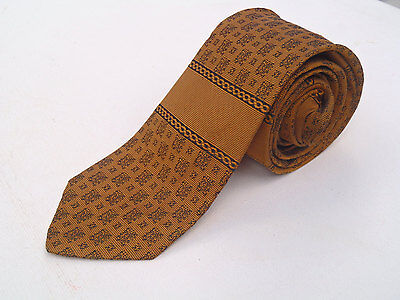 Vintage 1960s Skinny Gold Silk Tie with Black Neats by DiTucci
