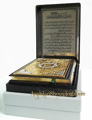 Holy Quran Koran 24*17cm Arabic Gold/Silver Cover+Leather Box Islamic Gift