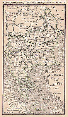 1887 Antique Map of the Balkans