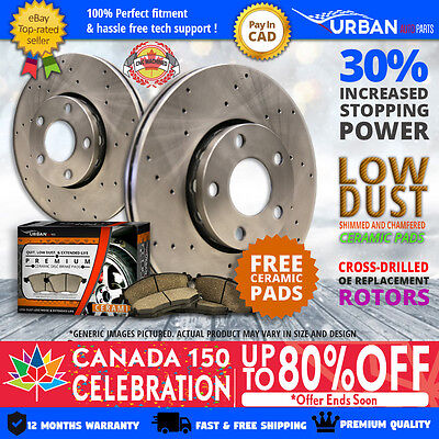 2011 2012 2013 Fits for Kia Sorento (Front Rotors + Ceramic Pads)-Cross Drilled