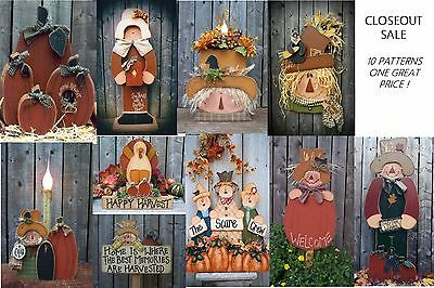 LG LOT OF 10 Fall / Harvest / Thanksgiving  Wood Patterns Closeout Sale LOT #4