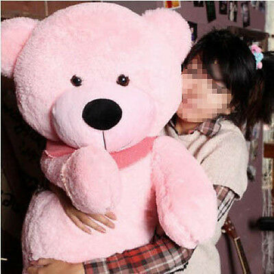 "Hot GIANT CUTE PINK PLUSH TEDDY BEAR HUGE SOFT 100% COTTON TOY 31"" NEW TOP"