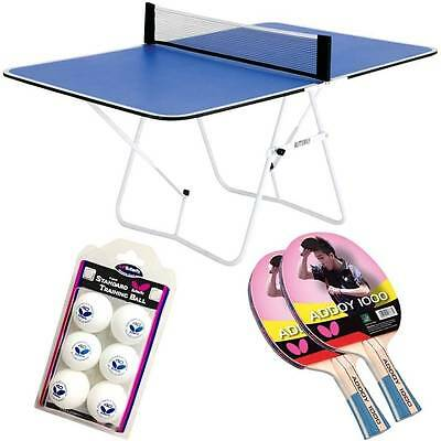 Butterfly Ping Pong Table Addoy Racket & Training Ball Family Fun Bundle A Blue