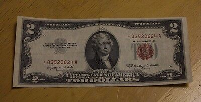 1953 A $2 United States Legal Tender STAR Note Red Seal *03520624a VF+