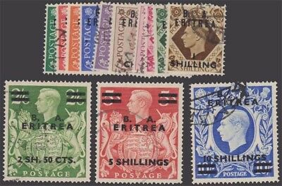 ERITREA KGVI 1950 Set of 13 Values Scott 14-26 SGE13-25 Used cv £95
