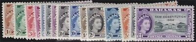 BAHAMAS QEII 1954-63 Complete Set Scott 185-200 Never Hinged