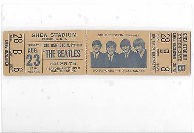 The Beatles Shea Stadium NY concert ticket 1966 Full Ticket RARE!