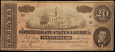 1864 Confederate States America $20 Twenty Dollar Bill Civil War Currency Note!