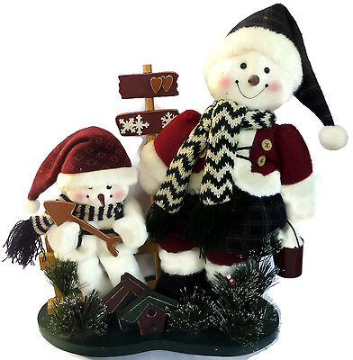 2 Plush Snowmen Standing With Bird Houses Christmas Winter Decor