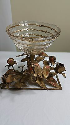 Tole Metal Roses Gold Gilt With Glass Bowl Vintage Hollywood Regency