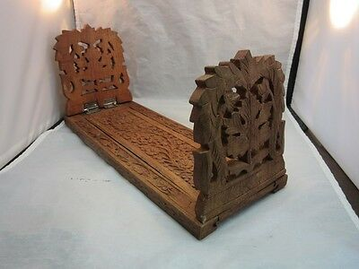Vtg Hand carved wood expanding book end shelf made in India