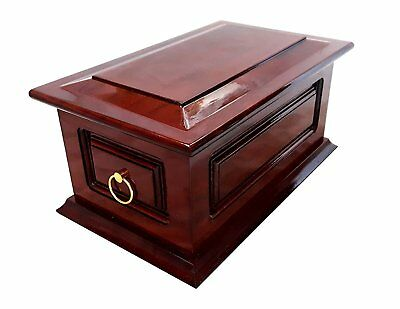 Solid Wood Funeral Cremation Ashes Urn For Adult Metal Ring Handles Home Burial