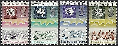 BRITISH ANTARCTIC TERRITORY BAT 1971 Antarctic Treaty set, mint MNH, SG#38-41