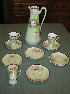RARE ANTIQUE TURIN BAVARIA HOT CHOCOLATE SET  Light Green Pink Roses Gold Trim