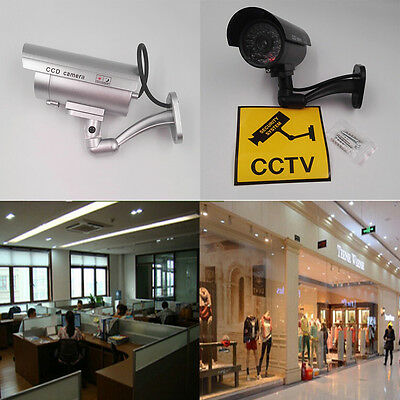 Quality Dummy Fake Outdoor Indoor Security Camera Night Blinking LED SILVER ESUS