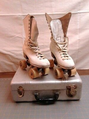 Vintage Pair White Roller Skates Wooden Wheels with Aluminum Box  Size 6 Womens