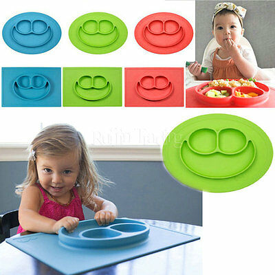 Happy Mat One-Piece Dividers Silicone Baby Plate Placemat Feeding Dish Kid Gift