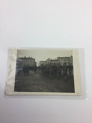 WWI France SOLDIERS MARCH PHOTO POSTCARD