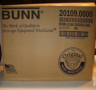 New Lot Of 2 Sealed Cases Bunn U3 18X7 3 Gallon Coffee Filters 252 Per Case