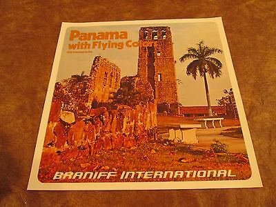 Vintage Braniff International Airlines Poster 1970s - Panama