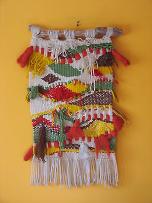 VINTAGE MID-CENTURY MODERNIST 60s 70s TEXTILE HANGING WALL ART TAPESTRY WEAVING