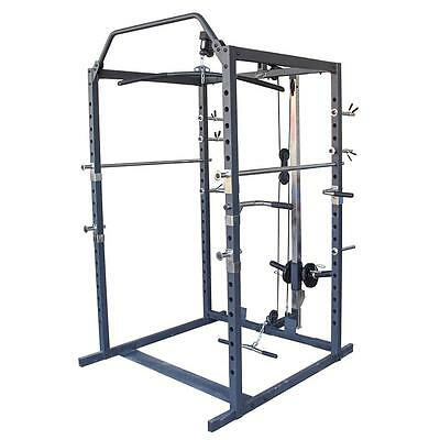 Power Rack Squat Cage Station Stand Weights Home Gym Fitness Multi Exercise Lat