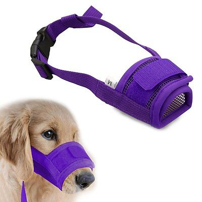 Purple Dog Mouth Muzzle Adjustable Biting Chewing Prevention Safety Belt Soft