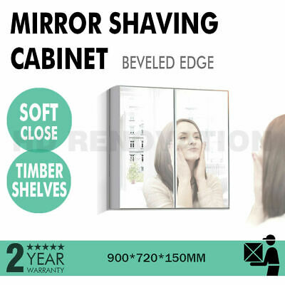 900*720*150 mm Mirror Shaving Cabinet Beveled Edge 2 Door Soft Close