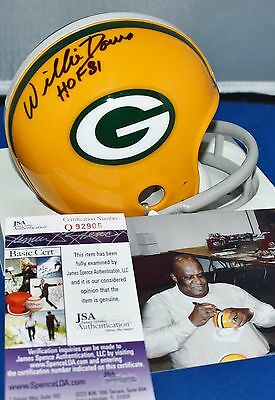 Willie Davis Signed Two Bar Throwback Mini Helmet Green Bay Packers Hof 81 Jsa