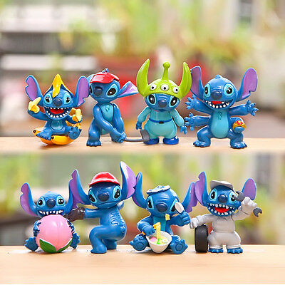 8pc Lilo & Stitch Action Figures Collection Set Kids Toy Gifts Cake Topper Decor