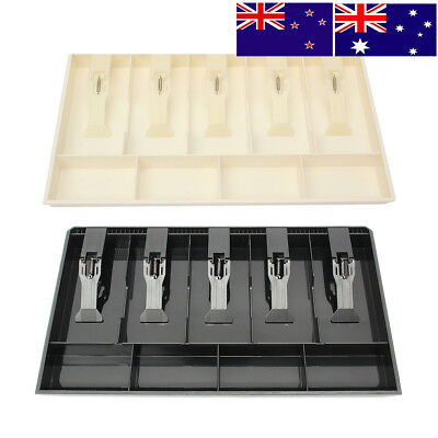 AU 4 Bill 3 Coin Trays Cash Coin Register Replacement Money Drawer Storage Box