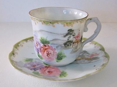 Vintage Japanese Hand Painted Small Tea Cup and Saucer