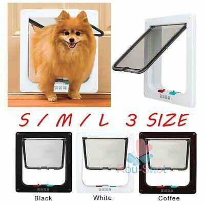 Frame 4 Way Locking Lockable Pet Cat Dog Puppy Flap Door S M L SIZE 3 Colors【AU】
