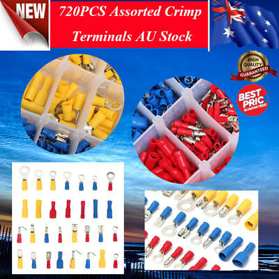 720Pcs Assorted Insulated Wire Electrical Crimp Terminals Connector Case Set Kit