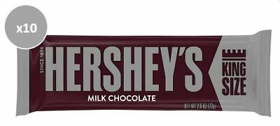 908604 10 x 73g BARS OF HERSHEY'S KING SIZE FAMOUS MILK CHOCOLATE!! - U.S.A.
