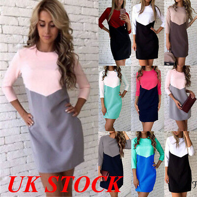 UK Womens Ladies Bodycon Long Sleeve  Dresses Party Evening Mini Patchwork Dress