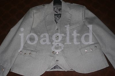 Argyle kilt Jacket & Waistcoat/Vest, Scottish Argyle Kilt/ Light Grey Argyle