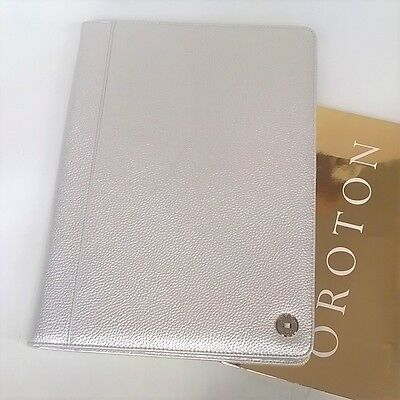 RRP$295 New Oroton Melanie A4 Folio Organiser Compendium Metallic Leather Silver