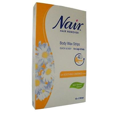 ** Nair Hair Remover Body Wax Strips For Legs & Body 12 Wax Strips  New **
