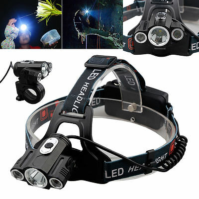 18000Lm Cree 3x T6 CREE XML LED Rechargeable 18650 Headlamp Headlight Head Torch