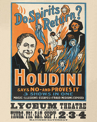 Vintage Magic  Show   Harry HOUDINI   Freakshow Carnival Circus  Theater  POSTER