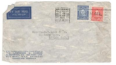 a38 Australia Airmail cover to London from The Lawrence & Hanson Electrical co