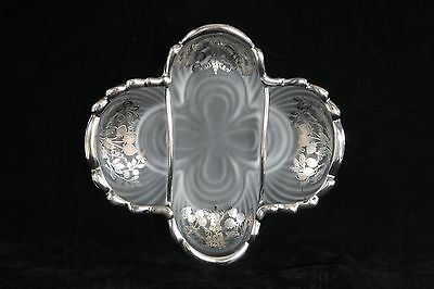 Rare Cambridge Glass Caprice Crystal Frosted Sterling Silver Overlay #124 Relish