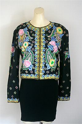 Vintage Women's Rare Embroidered and Embellished Silk Sequin Jacket Size Medium