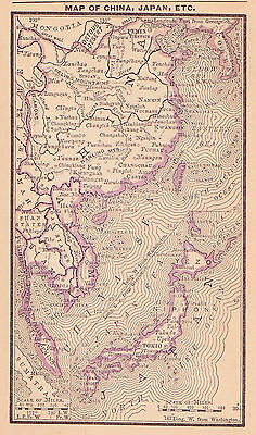 1887 Antique Map of Japan, China and Southeast Asia