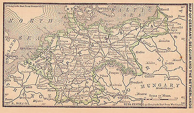 1887 Antique Map of Germany, Belgium and The Netherlands