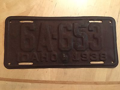 """1938 Idaho Passenger  License Plate """" 6A 653 """" Id 38 Ready To Be Restored"""